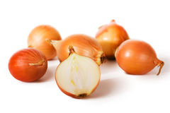 Fresh onions. Isolated on a white background Royalty Free Stock Images