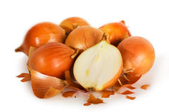Fresh onions. Isolated on a white background Stock Images