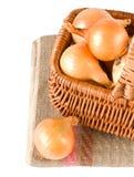 Fresh onions in basket Stock Photo