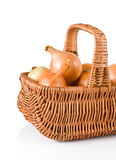 Fresh onions in basket Stock Image