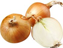 Cut fresh bulbs of onions isolated on white. Fresh onions bulbs yellow group white background Royalty Free Stock Image
