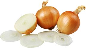 Cut fresh bulbs of onions on a white background royalty free stock images