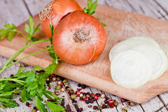 Fresh onions, parsley and peppercorns Stock Image