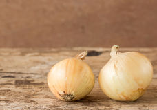 Fresh onions vegetables on wooden table Royalty Free Stock Images