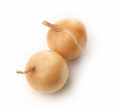 Fresh onions on white background. Isolate Stock Image