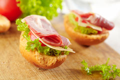 Fresh Open Sandwich With Bacon Stock Photography