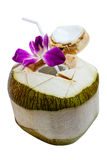 Fresh Opened Coconut. Ready for Drinking Coconut Water Inside Royalty Free Stock Photo