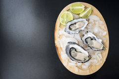 Fresh opened oyster. Served with lime on darck background Stock Photography
