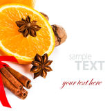 Fresh orange, Anise star, Cinnamon stick isolated. Spices for ho Royalty Free Stock Image