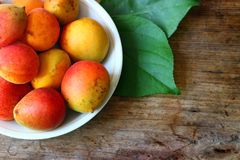 Fresh orange apricots. On the plate Royalty Free Stock Image