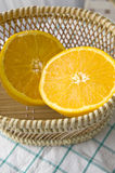 Fresh orange in basket Royalty Free Stock Images