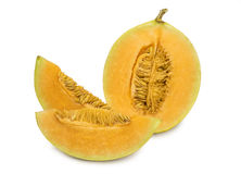 Fresh orange cantaloupe melon isolated on white background Stock Photos