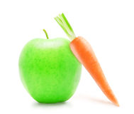 Fresh orange carrot and green apple. Stock Photo