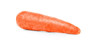 Fresh orange carrot isolated on a white background. Sweet raw carrot tuber. Whole vegetables for healthy beverages. A close-up picture of raw crunchy carrot Stock Photography