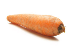 A fresh orange carrot laying on a white surface. A fresh lonely orange carrot laying on a white surface. The image is  on a white background Stock Photography