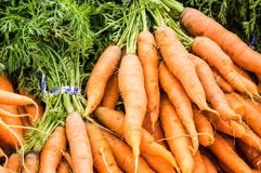 Fresh orange carrots on display at the market Royalty Free Stock Image