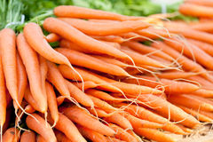 Fresh orange carrots on market in summer Royalty Free Stock Photo