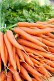 Fresh orange carrots on market in summer Stock Photography