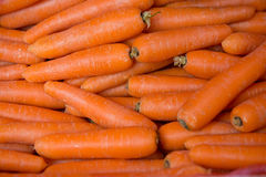 Fresh orange carrots on the market Stock Images