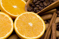 Fresh orange, coffee and cinnamon Royalty Free Stock Photos