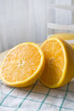 Fresh orange cut. Fresh two pieces of orange cut Stock Photo