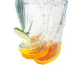 Fresh orange dropped into water Royalty Free Stock Photo