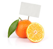 Fresh orange fruit with blank price tag Royalty Free Stock Images