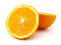 Fresh orange fruit cut isolated on white Stock Photo