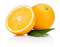 Fresh Orange fruit with half and leaves isolated on white Stock Photography