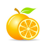 Fresh orange fruit vector icon Stock Photos