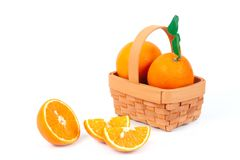 fresh orange fruit on white background Stock Photo