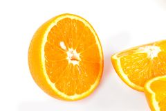 Fresh orange fruit on white background Stock Photos