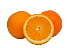 Fresh orange fruit on white background Royalty Free Stock Photos