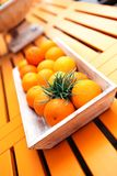 Fresh orange fruits decorative on table in summer Royalty Free Stock Photos