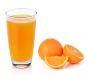 Fresh orange fruits and juice Stock Photos