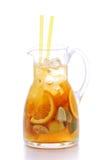 Fresh orange and ginger lemonade isolated on white background, summer fruit drink photography Stock Photos