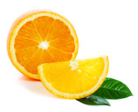 Fresh orange with green leaf royalty free stock images