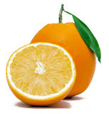 Fresh Orange With Half Stock Photos