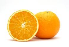 Fresh orange and half. Isolated on white background Royalty Free Stock Image