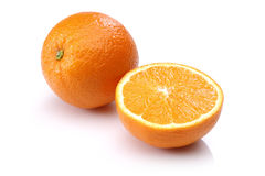 Fresh Orange and Half Orange Royalty Free Stock Images