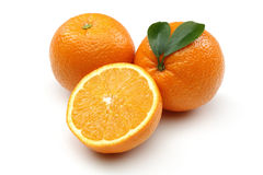 Fresh Orange and Half Orange Stock Photo