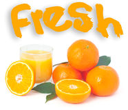 Fresh orange juice. Full glass of fresh orange juice and fruit orange. Isolated on a white Stock Photography