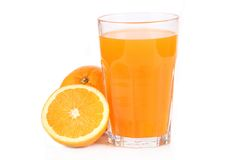 Fresh orange juice. Studio shot  on white Royalty Free Stock Image