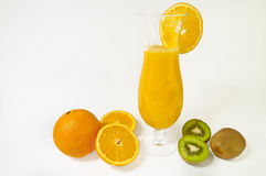 Fresh orange juice. With kiwi fruits on white background. A healthy dessert Stock Photos