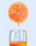 Fresh orange juice. Half an orange filling a glass with its juice. Hand drawn illustration stock illustration
