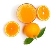 Fresh orange juice, above view. Stock Photos