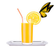 Fresh orange juice with butterfly Stock Image