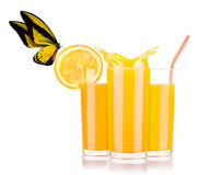 Fresh orange juice with butterfly Royalty Free Stock Photo