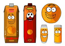 Fresh orange juice cartoon characters. With a smiling whole orange fruit, glasses of juice and two bright cartons for food pack design Royalty Free Stock Photo