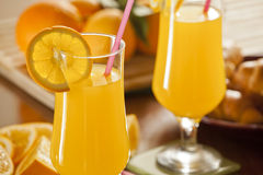 Fresh Orange Juice and Croissants Stock Photo